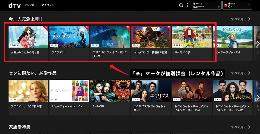 dTV公式サイトTOP「¥」マーク